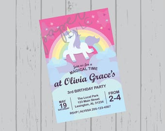 Birthday Rainbow Unicorn Customized Printable Invitation