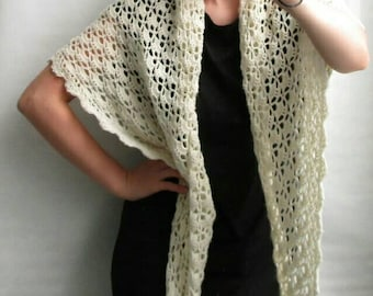 Crochet silk and wool shawl