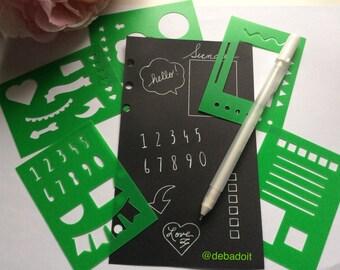 Planner Stencils, Set of 5 Green Mini BUJO Planner Stencils, Bullet journal stencil, Planner Insert Stencil, flex plastic planner stencils