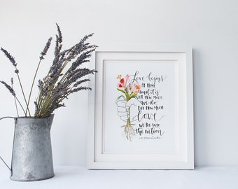 Watercolor Quote Painting/Inspirational Quote/ Saint Quote/ St. Teresa of Calcutta/ Love Begins At Home 8x10