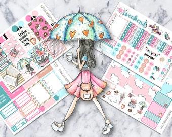 MINI Weekly Kit / Rainy Day / Planner Stickers /  Fits Erin Condren Vertical & MAMBI / Glitter / Hand Drawn