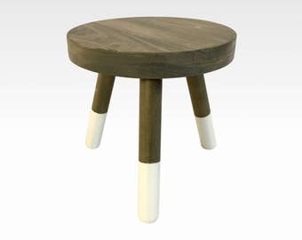 Wood Three Legged Stool, Modern Plant Stand, Choose Finish By Candlewood  Furniture, Wooden