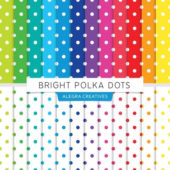 Bright Polka Dots digital paper polka dots by AlegraCreatives