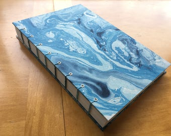 Blue Marbled Sketchbook // Ocean Journal  // Coptic Stitch Book // Handmade Hardcover Notebook // Gorgeous Blues // Gifts under 20