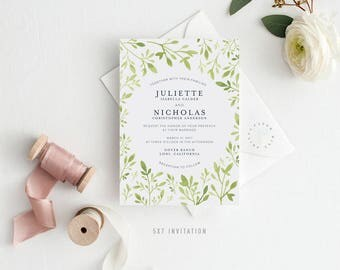 JULIETTE SUITE || Printable Wedding Suite, Invitation, RSVP, Insert, Menu, Table Number, Favor Tag, Simple, Green, Leaves, Modern