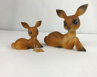 Set of 2 Vintage Plastic Deer Figures, Diamond P Plastic Deer Figurines, Kitschy Plastic Deer,  Kitschy Home Decor, Easter Deer Figures