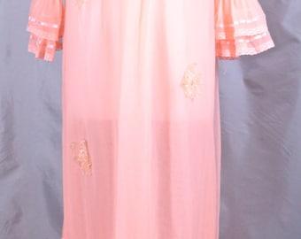 Sheer Orange Nylon Robe 1960's Made by Carnival