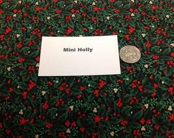 Mini Holly Print Fabric - 2 Yards