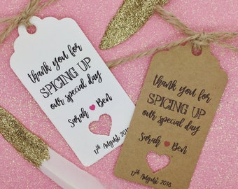 """Hot Sauce Wedding Favour Gift Tags """"Thank you"""" Guest Label Kraft"""