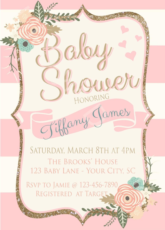 Vintage Baby Shower Invitation - Baby Girl - Shabby Chic Baby Shower ...
