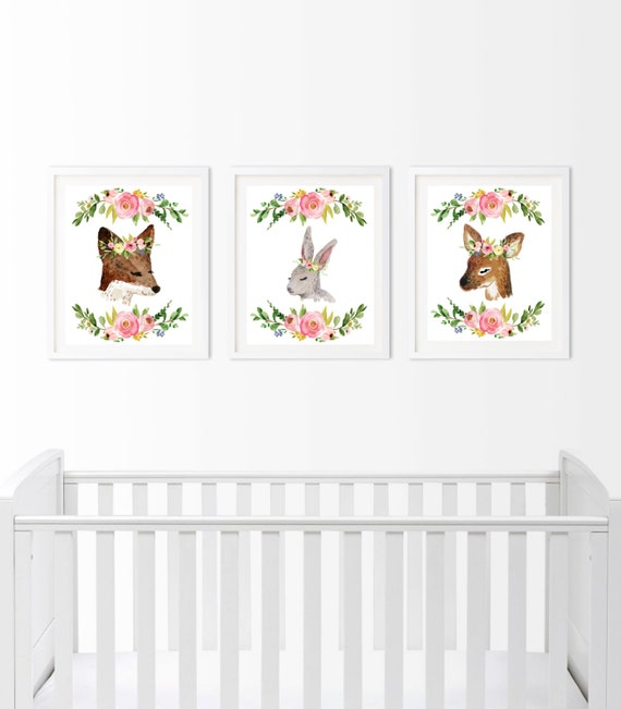 Woodland Nursery Decor, Deer Bunny Fox Watercolor Floral