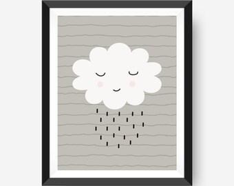 Happy Rain Cloud Print | Kids Wall Art | Nursery Art Print