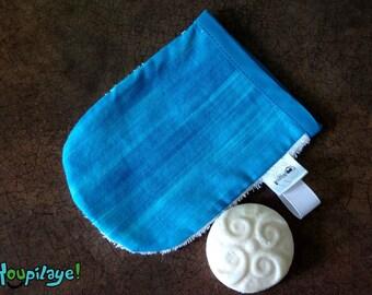 Smart bath Mitt, wash cloth, washcloth, Ratine white, cotton blue ocean, child and woman man, baby bath, towel