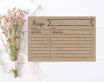 SALE! Rustic bridal shower recipe cards Printable recipe cards 4x6 Rustic recipe cards Rustic recipe box and cards Vintage kitchen shower