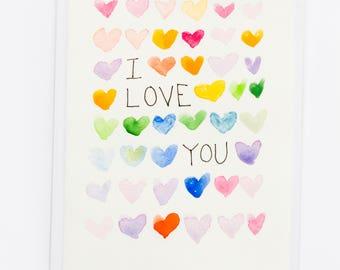 Handmade I LOVE YOU Watercolor Greeting Card