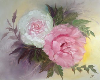"""Painting """"The tenderness"""" Original Still Life Art oil painting on Canvas, Size: 20""""x 16"""" (51 x 41 cm)"""