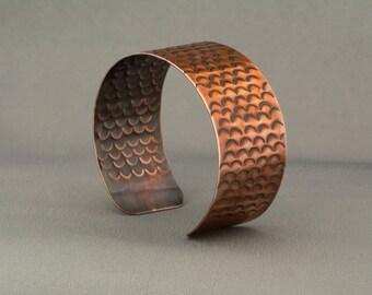 Copper Cuff, Copper Bangle, Copper Bracelet, Stamped Cuff, Stamped Bangle, Fish Scale Cuff, Snakeskin Cuff, Stamped Bracelet, Warrior Cuff