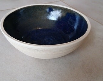 Handmade, blue, ceramic, bowl, special, Mediterranean, pottery, soup, salad, cereal, white, modern, unique, clay, serving