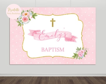 Christening Backdrop, Baptism Backdrop, Baby Shower, Birthday, Printable, Party Backdrop, Photo Backdrop, Pink & Gold, YOU PRINT