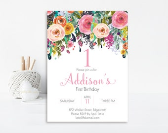 Floral First Birthday Invitation, Floral Invitation, Floral Birthday Invitation, Printable Invitation, 1st Birthday Invitation Girl Birthday