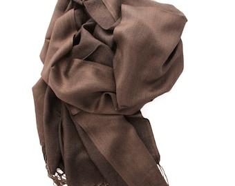 Brown scarf, silk scarf, light scarf, woman's scarf, scarf long, silk scarf for women, fringe scarf, wide scarf, plane scarf, spring scarves