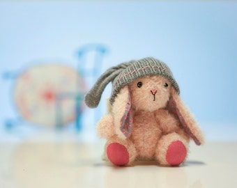Mohair Bunny with a Pretty Hat / Handmade Mohair Rabbit with a Grey Hat