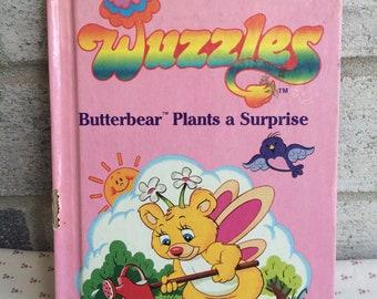 Vintage 80s Wuzzles book, Butterbear Plants a Surprise, Wuzzles book, vintage Disney, Disney Wuzzles book