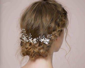 3 Piece Bridal Hair Pin Set, Crystal Rhinestone Wedding Hairpins,Ivory Water Pearl Crystal Wedding Hair accessories,  Brides Haircombs