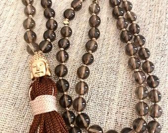 Smoky quartz mala necklace brown quartz mala necklace buddha mala tassel necklace yoga mala meditation necklace 108 beads ctystal brown