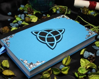"""Book of shadows """"New Turquoise Triquetra"""" paganism pagan symbolism wicca handcrafted journal wizardry"""