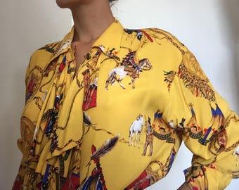 Yellow Native American Print Button up shirt
