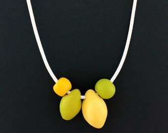 Lemon and Lime, Polymer Clay Necklace, Bright Green, Bright Yellow, Teacher Gift, Colourful Statement, Happy Necklace, Citrus Jewellery