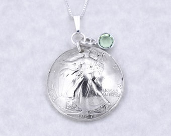 70th Birthday Gift - 1947 Silver Half Dollar Coin Birthstone Pendant Necklace Jewelry - Birthday Gift for Mother - Birthday Gift for Grandma
