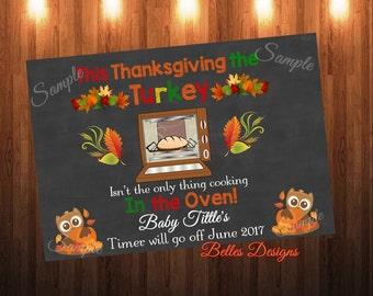 Pregnancy Announcement, Thanksgiving, Bun in the Oven, *Digital File*