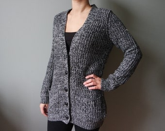 Black Knitted Cardigan Womens Knitted Jacket Longsleeves Button down Vintage Black and Gray Vintage Women's Knitwear Size S Stretchy