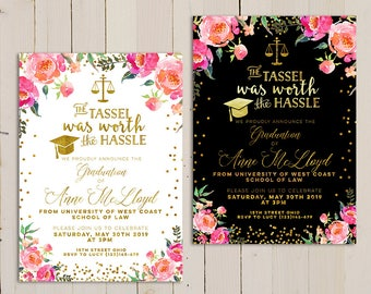 graduation law printable invitation floral graduation law invitation law school graduation invitation printable - Law School Graduation Invitations