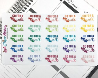 Go for a walk! set of 25 stickers for your Erin Condren, Inkwell Press, Happy Planner or other calendar or planner!