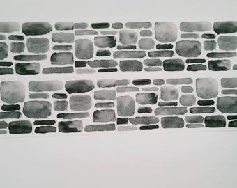 Design Washi tape grey brick wall watercolor