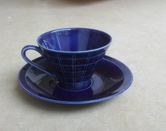 Petrus Regout cobalt blue space age cup and saucer, Maastricht, Netherlands, sixties