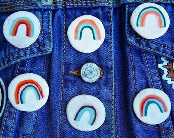 Rainbow pin badge, rainbow pin brooch, ceramic rainbow pin, lapel pin, rainbow badge, rainbow lapel pin, rainbow jewel, pins, statement pin