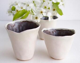 Handmade mini white and gold ceramic vases, mini pottery vase, white pottery vase, white ceramic vase, white bud vase, ceramic bud vase,