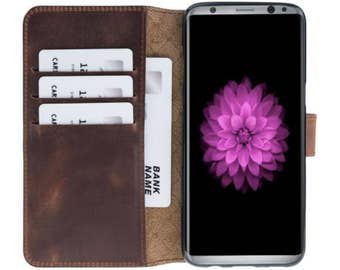 Galaxy S8 Wallet Case, Samsung Galaxy S8/S8+ Genuine Leather Case, Best S8 Plus Case, Perfect for 3+ Cards and Cash in AnticBrown