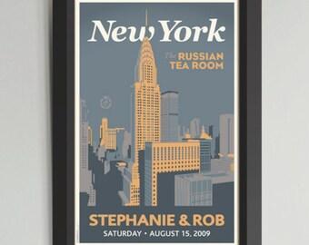 Downtown NY Personalized Framed Wedding Art (Medium)