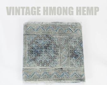 Vintage Hmong Hill Tribe Hemp x Cotton - Hill Tribe Fabric, Hmong Fabric, Indigo Fabric Yardage, Handspun Handwoven Ethnic Batik Fabric