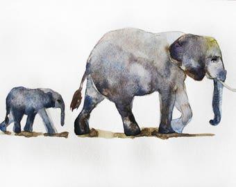 Original Watercolor Painting elephant,elephant watercolor, for kids room, Animal watercolor, gift for kids, home decor, animal art OOAK