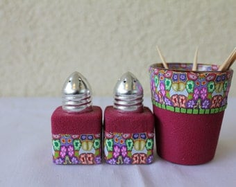 OOAK set salt peppe and  toothpick glass  -covered Polymer clay   there is no other like this