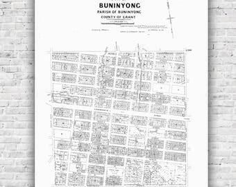 Buninyong Map - J.F.W.Fulton 1910, Antique Black and White Map, poster, print, antique map, wall art, Ballarat