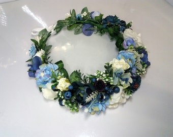 Flower crown Flower halo Wedding flower crown Bridal headband Floral crown Blue flower crown Flower hair wreath Flower halo