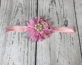 Pink and Gold Headband / Gold Polka Dots / Rhinestone Headband / Baby Headband / Toddler Headband / Infant Headband / Baby Bows / Beautiful