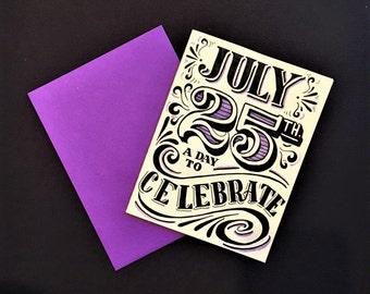 purple black and white customized birthday card